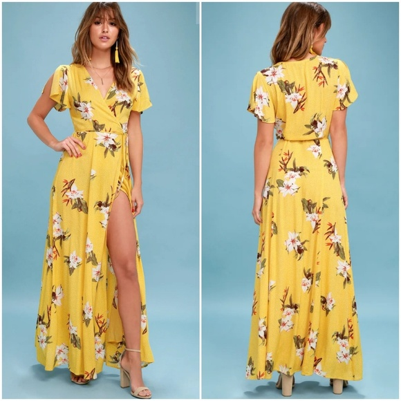 61bfb69782 Lulu's Dresses | Heart Of Marigold Yellow Tropical Print Maxi Dress ...
